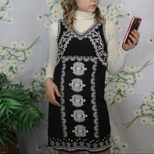 THML black crepe white embroidered dress
